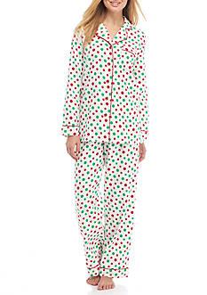 Kim Rogers 2 Piece Multi Dot Flannel Pajama Set