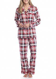Kim Rogers® 2-Piece Red Plaid Flannel Pajama Set