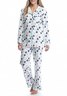 Kim Rogers 2-Piece Free Birds Flannel Pajama Set