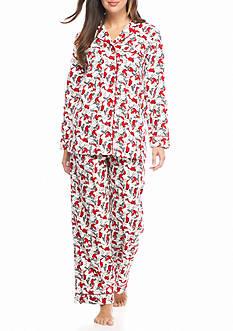 Kim Rogers 2-Piece Cardinal Flannel Pajama Set