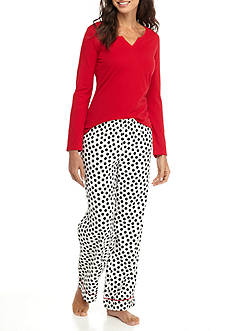 Kim Rogers® 2-Piece Flannel Dot Pajama Set