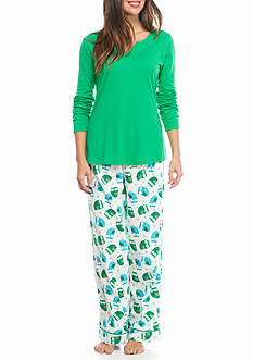 Kim Rogers Fair Owl Knit Flannel Pajama Set