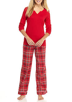 Kim Rogers® 2-Piece Flannel Plaid Pajama Set