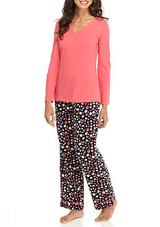 Kim Rogers® 2-Piece Flannel Fizzle Dot Pajama Set