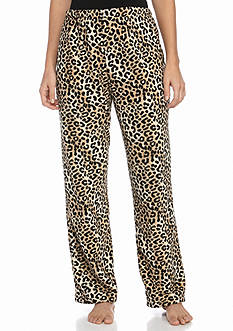 Kim Rogers Cheetah Print Plush Fleece Pants