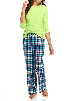 Kim Rogers 3-Piece Owl Plaid Pajama Set