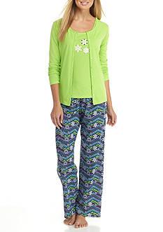 Kim Rogers 3-Piece Snowflake Chevron Pajama Set