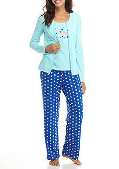 Kim Rogers 3-Piece Polka Dot Dog Pajama Set