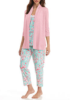 Kim Rogers Mint Flower 3 Piece Pajama Set