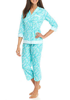 Kim Rogers 2-Piece Notch Collar Capri Pajama Set