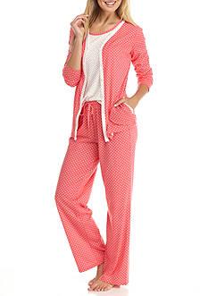 Kim Rogers 3-Piece Coral Dot Pajama Set