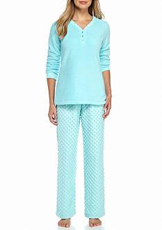 Kim Rogers 2-Piece Dot Fleece Pajama Set