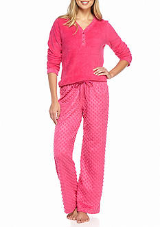 Kim Rogers® 2-Piece Dot Fleece Pajama Set