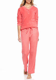 Kim Rogers 2-Piece Dot Fleece Pajama Set