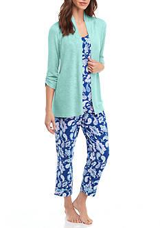 Kim Rogers Blue Paisley 3-Piece Pajama Set