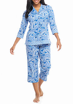 Kim Rogers 2-Piece Notch Collar Paisley Pajama Set