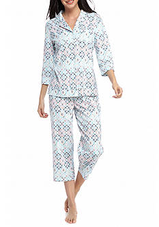 Kim Rogers 2-Piece Notch Collar Medallion Capri Pajama Set
