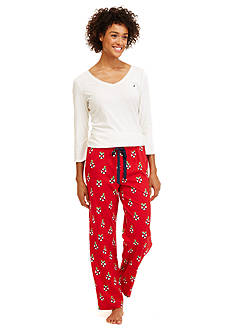 Nautica Folded 2-Piece Printed Mistletoe Pajama Set