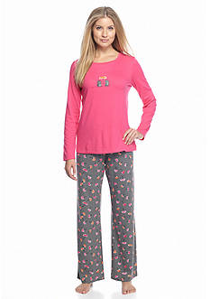 HUE® Folded 2-Piece Knit Hedgehog Pajama Set