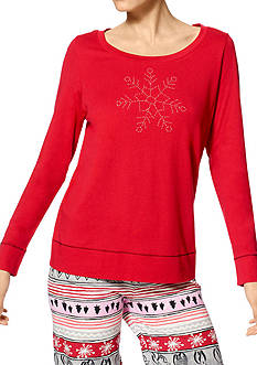 HUE Plus Size Long Sleeve Snowflake Tee