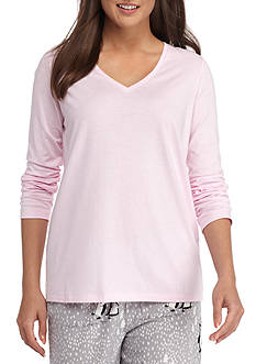 HUE Solid Long Sleeve V-Neck Sleep Tee