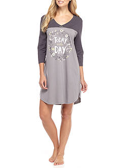 HUE® Today is the Day Three Quarter Sleeve Sleep Shirt