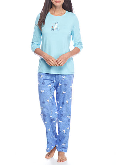 HUE® Moosecycle Knit Pajama Set with Free Socks
