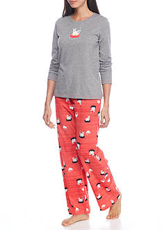 HUE Polar Tubing Knit Pajama Set with Free Socks