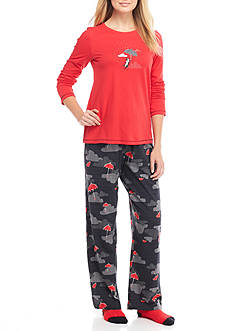 HUE® Paws & Parasols Knit Pajama Set with Socks