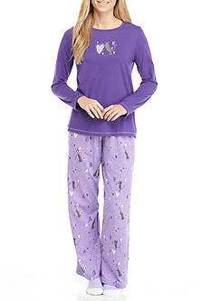 HUE I Heart Cats Knit Pajama Set with Free Sock