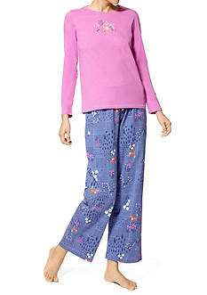 HUE® Yoga Fox Knit Pajama Set with Free Socks