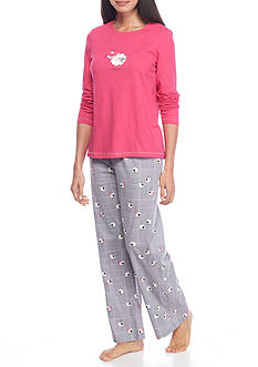 HUE® Sleepy Sheepy Knit Pajama Set with Free Socks