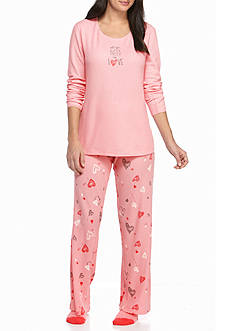 HUE Winter Amour Thermal Pajama Set with Free Socks