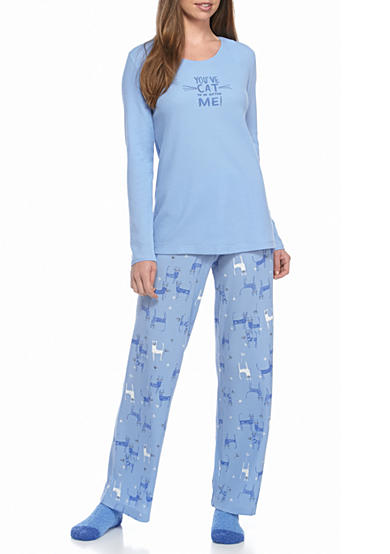 HUE® Fanciful Feline Thermal Pajama Set with Socks