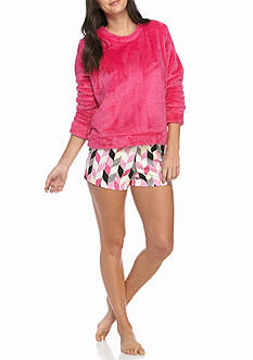HUE Chevron Boxer/Fleece Shirt Pajama Set