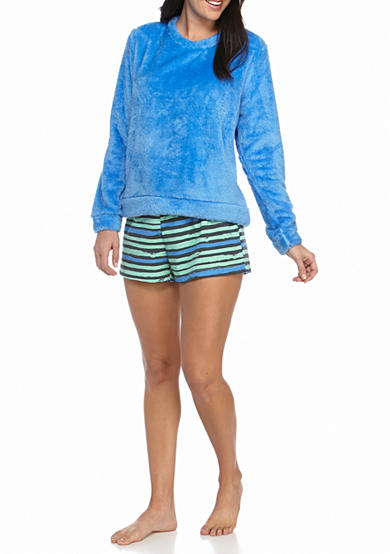 HUE® Stripes Boxer/Fleece Shirt Pajama Set
