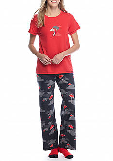 HUE® Short Sleeve Paws & Parasols Knit Pajama Set with Free Socks