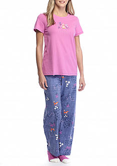 HUE® Short Sleeve Yoga Fox Knit Pajama Set with Free Socks