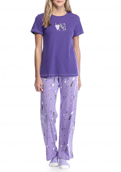 HUE® Short Sleeve I Heart Cats Knit Pajama Set with Free Socks