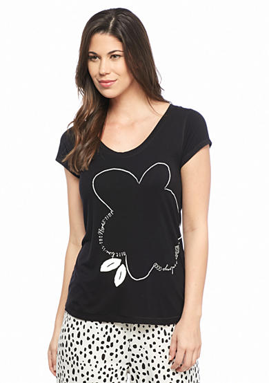 Goodnight Kiss™ Short Sleeve Nite Floral Screen Tee