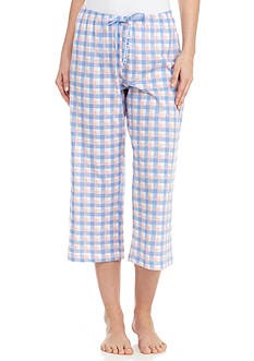 HUE Cross Plaid Capri