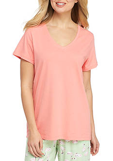 HUE Solid V-Neck Short Sleeve Tee