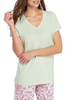 HUE® Solid V-Neck Short Sleeve Tee