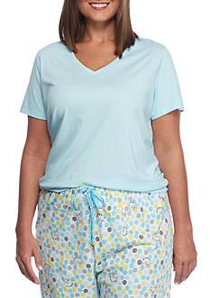 HUE Plus Size Short Sleeve Plus Size V-Neck Tee