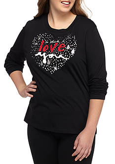 HUE Plus Size Love You Long Sleeve Sleep Tee
