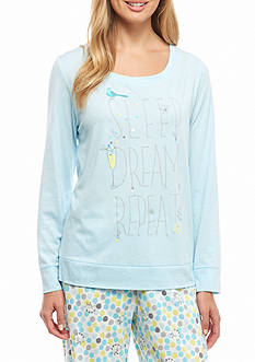 HUE Plus Size Sleep Dream Repeat Long Sleeve Tee