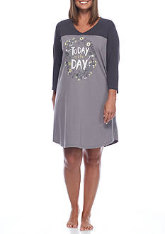 HUE Plus Size Today is the Day Three Quarter Sleeve Sleep Shirt