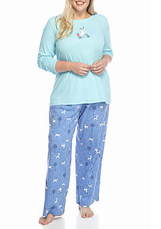 HUE Plus Size Moosecycle Knit Pajama Set with Socks