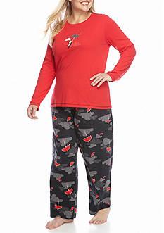 HUE Paws & Parasols Knit Plus Size Pajama Set