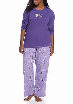 HUE I Heart Cats Knit Plus Pajama Set with Socks
